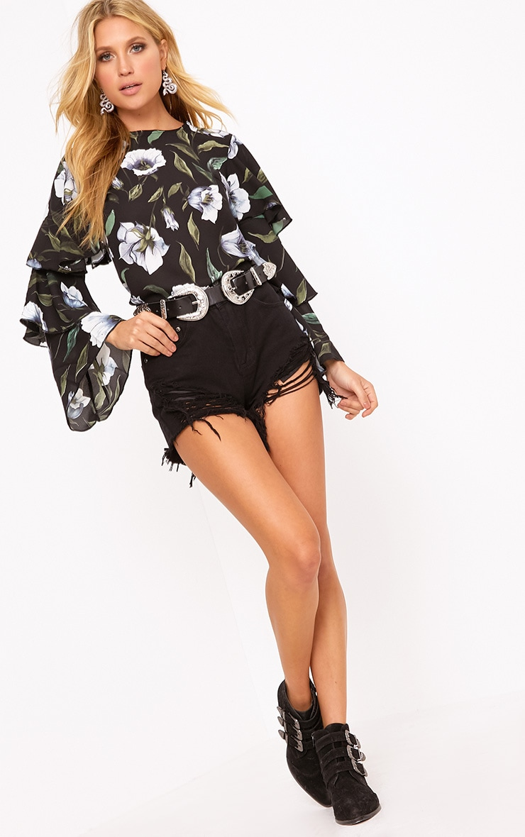 Lexia Black Frill Longsleeve Floral Printed Blouse  4