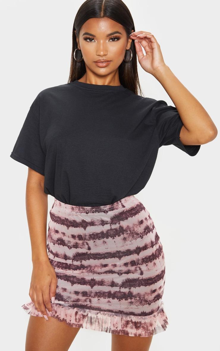 Maroon Mesh Tie Dye Frill Hem Mini Skirt 1