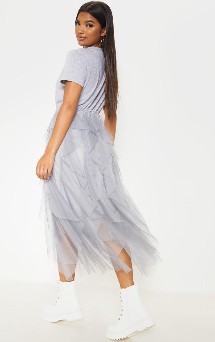 Grey Tulle Detail T Shirt Dress 2