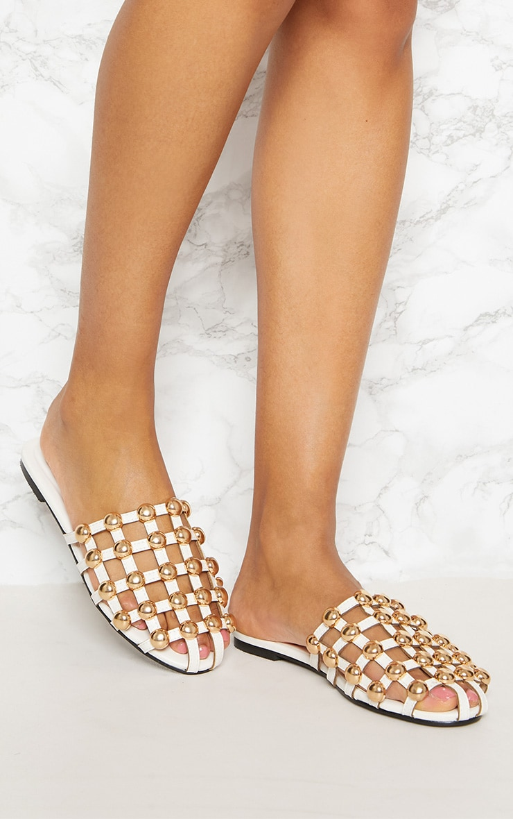 White Dome Studded Mule Flat