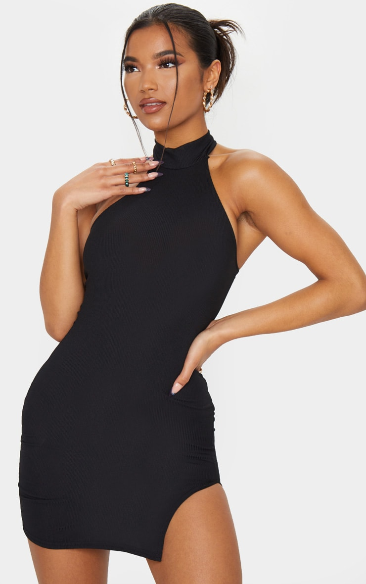 Black Ribbed High Neck Split Detail Bodycon Dress 1