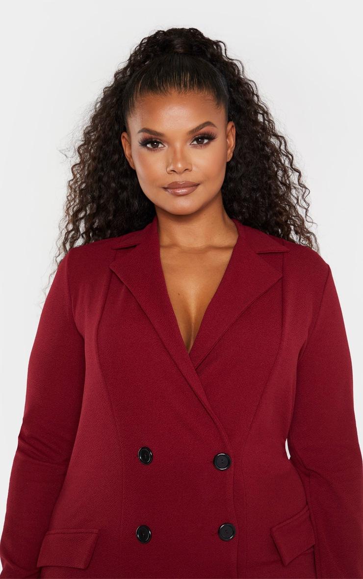 Plus Burgundy Button Detail Blazer Dress 5