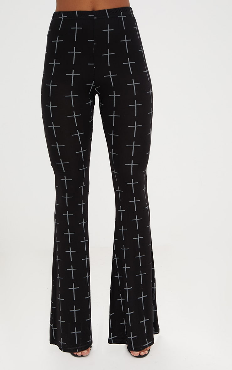 Black Jersey Graveyard Cross Print Flared Trousers 2