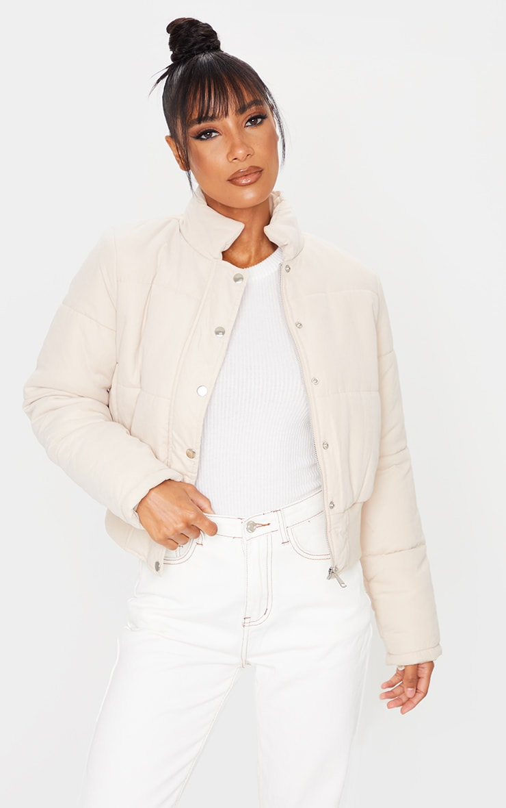Peach Skin Cropped Puffer Jacket 1