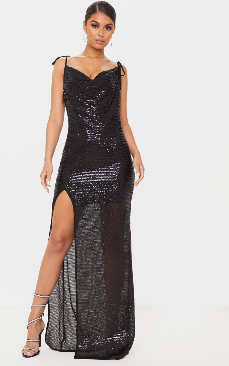Black Sequin Tie Strap Cowl Neck Maxi Dress 1