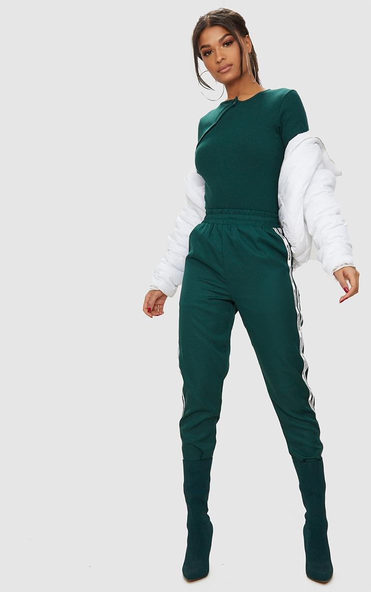 Forest Green Rib Popper Front Thong Bodysuit 5