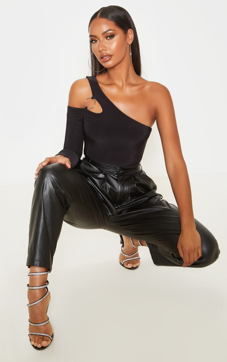 Black Slinky O-Ring One Shoulder Bodysuit 1