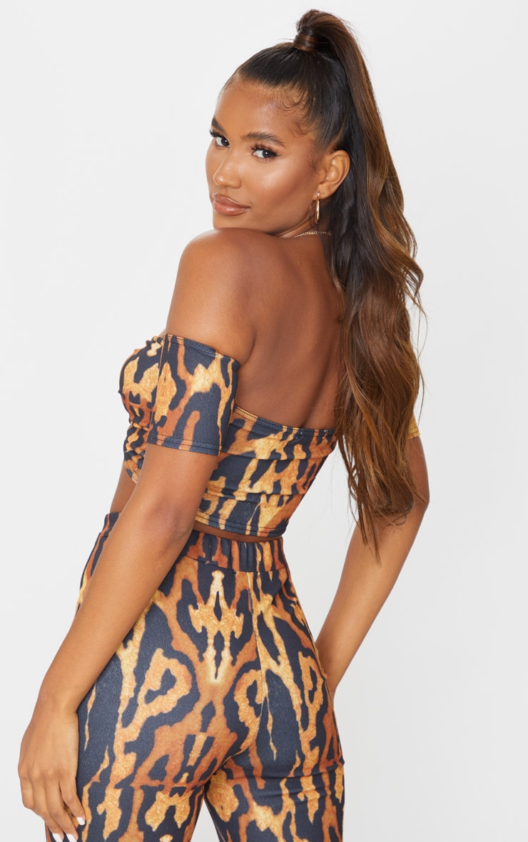 Brown Leopard Print Crepe Bardot Twist Front Crop Top 2