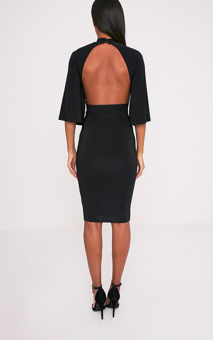 Hasnae robe midi kimono moulante noire à dos ouvert 2