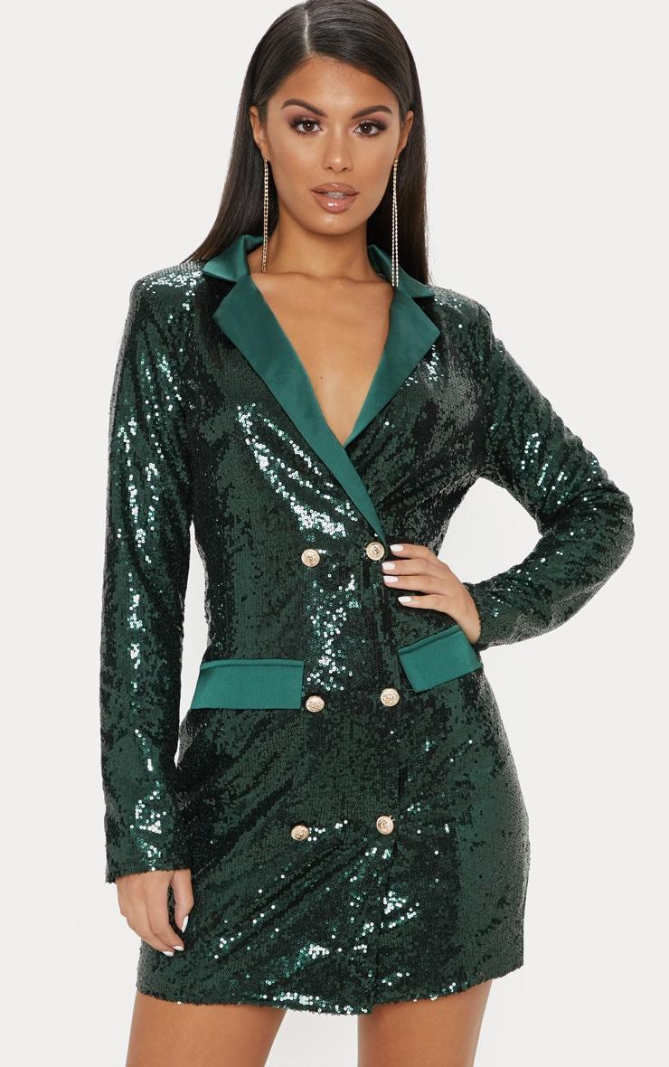 Emerald Green Sequin Button Detail Blazer Dress  1