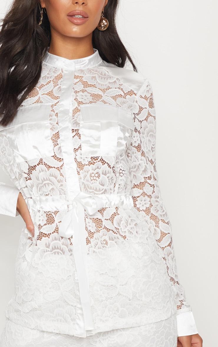 White Lace Military Detail Tie Waist Shirt 5