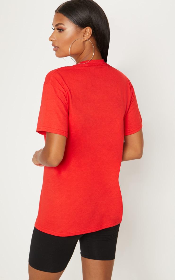 Red Calabasas Slogan Oversized T Shirt  2