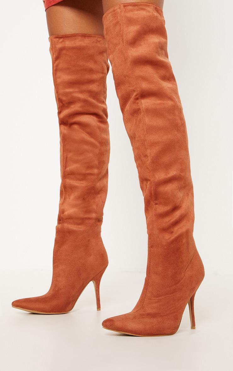 Rust Over The Knee Mid Heel Boot  2