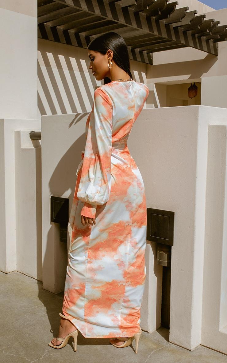 Orange Watercolour Print Tassel Tie Wrap Maxi Dress 2