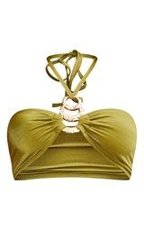 Olive Triple Ring Halterneck Bikini Top 5