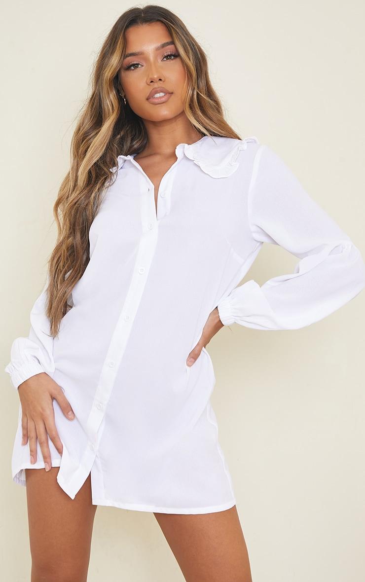 White Frill Collar Balloon Sleeve Shirt Dress