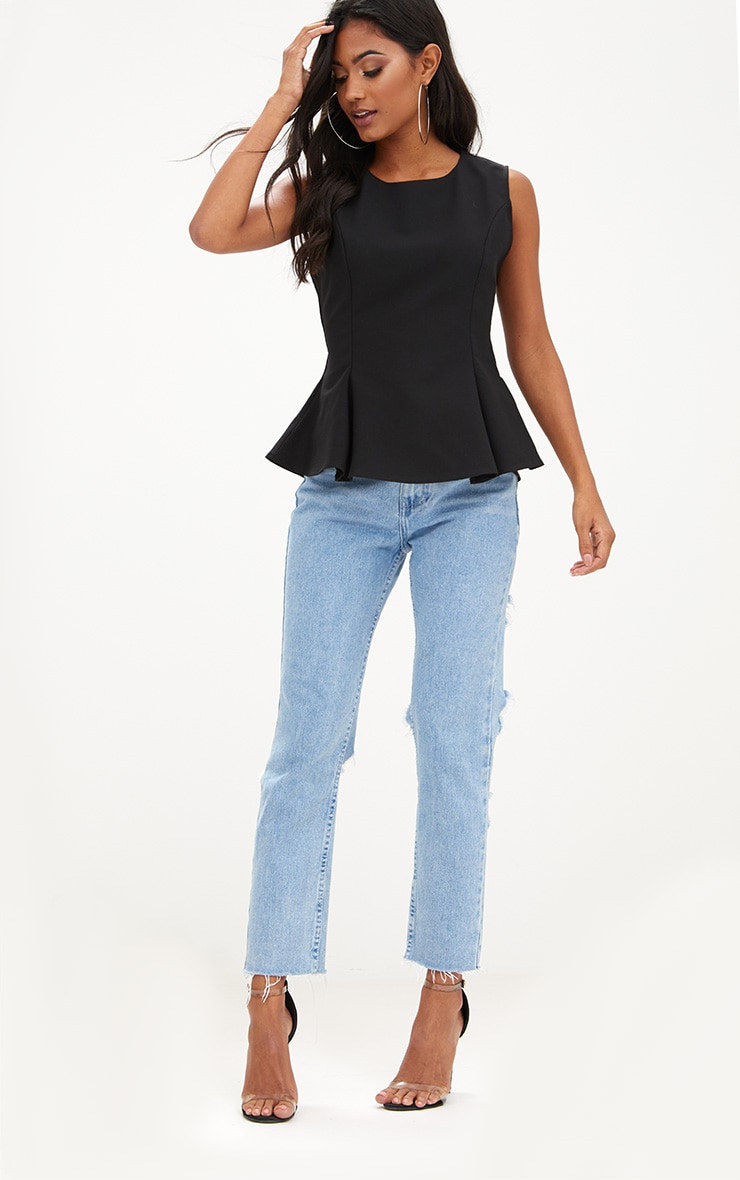 Black Sleeveless Peplum Hem Woven Top 1