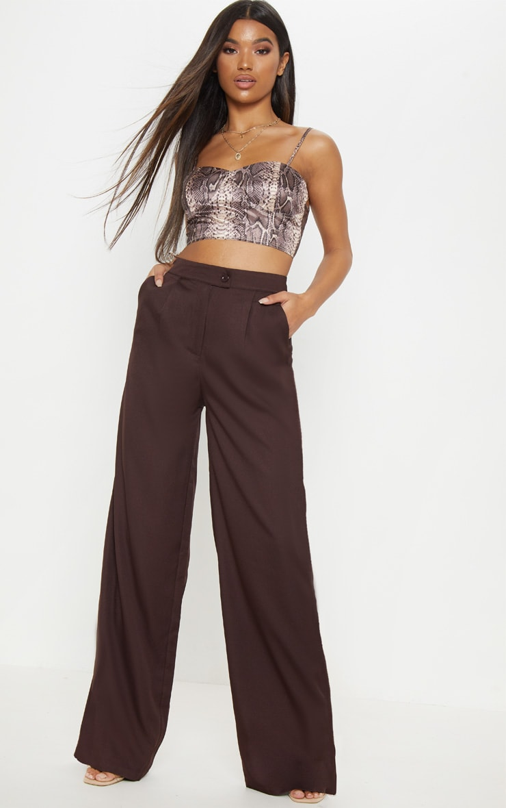 Chocolate Formal Button Wide Leg Pants 1
