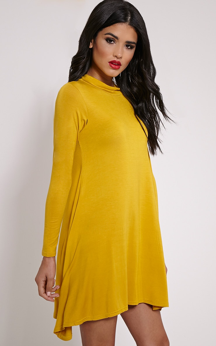 Basic Mustard Long Sleeved Jersey Swing Dress 4