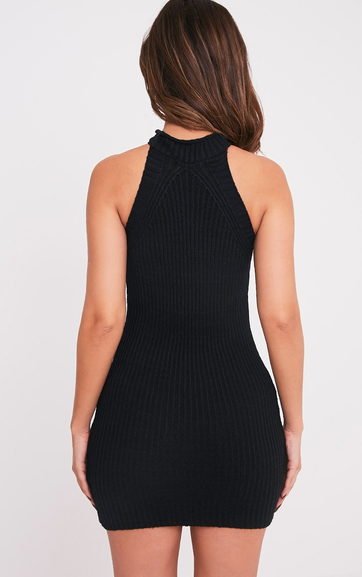 Nadalae robe mini noire tricotée col montant sans manches 2