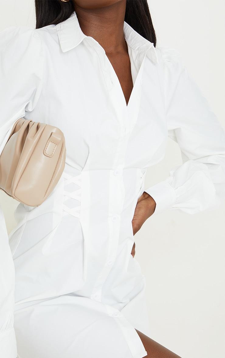 Tall White Corset Detail Long Sleeve Shirt Dress  4