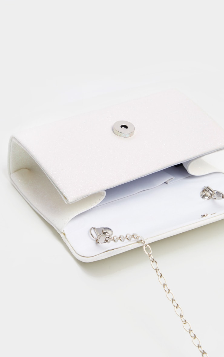 White Fabric Glitter Medium Clutch Bag 3