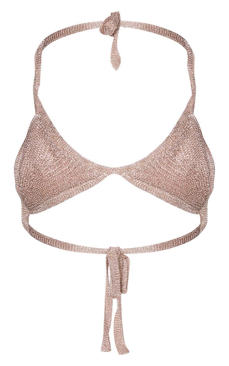 Rose Gold Metallic Knitted Bralet 3