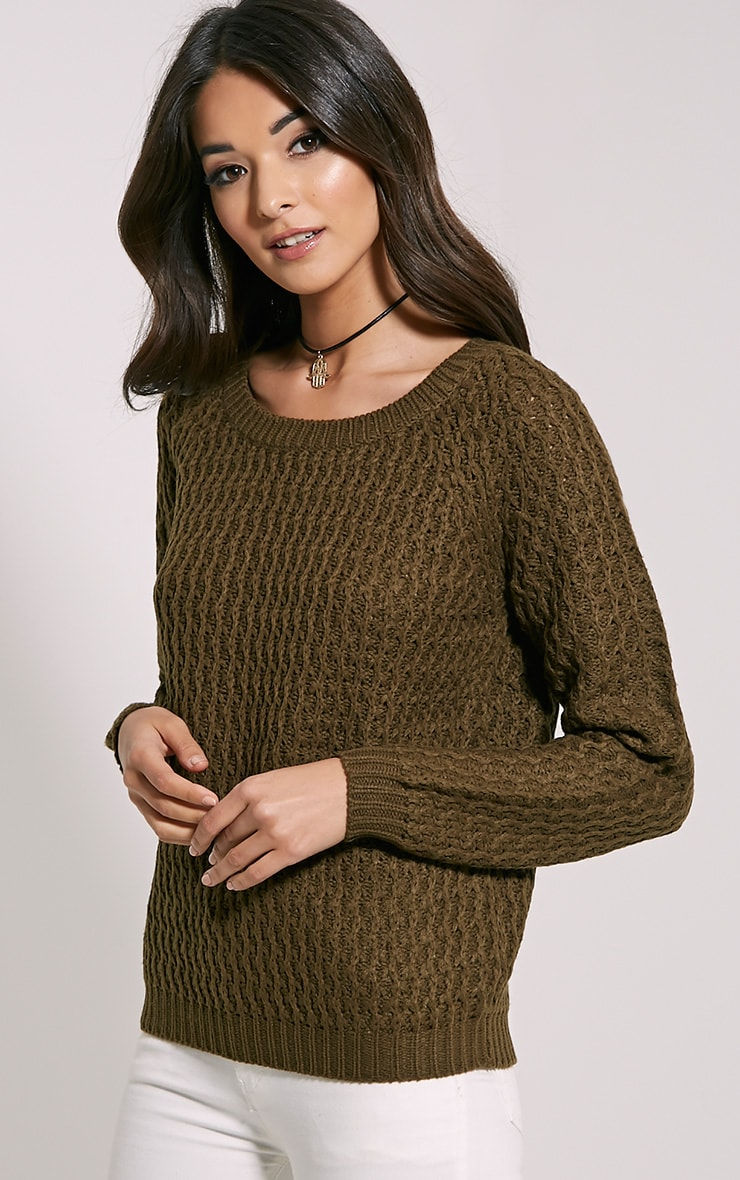 Jaylin Khaki Cable Knit Jumper 4