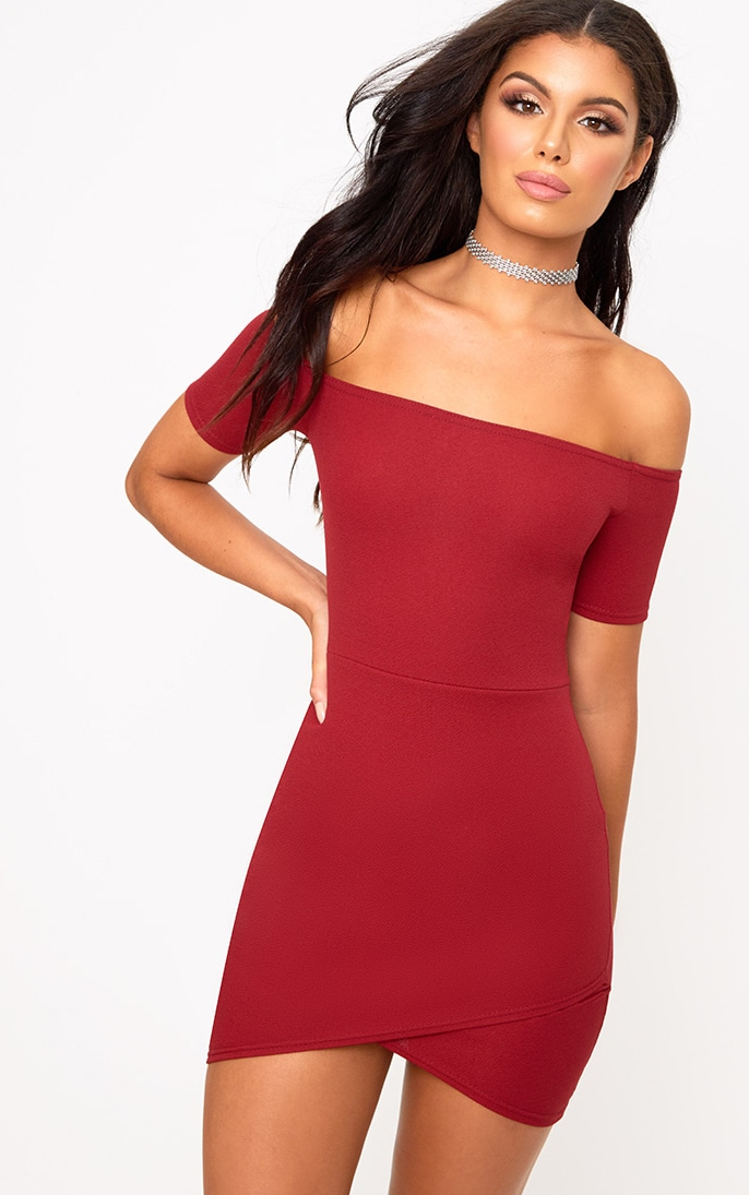 Burgundy Bardot Wrap Skirt Bodycon Dress