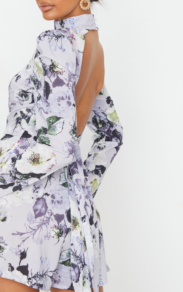 Grey Floral Print Backless Tie Back Playsuit 4
