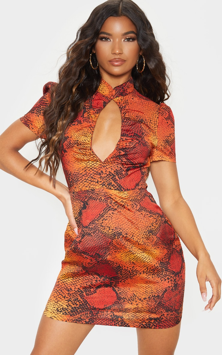 Orange Snake Print Ruched Key Hole Shift Dress 1