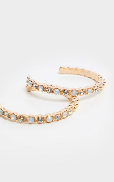 Gold Half Hoops With White And Clear Stones Earrings