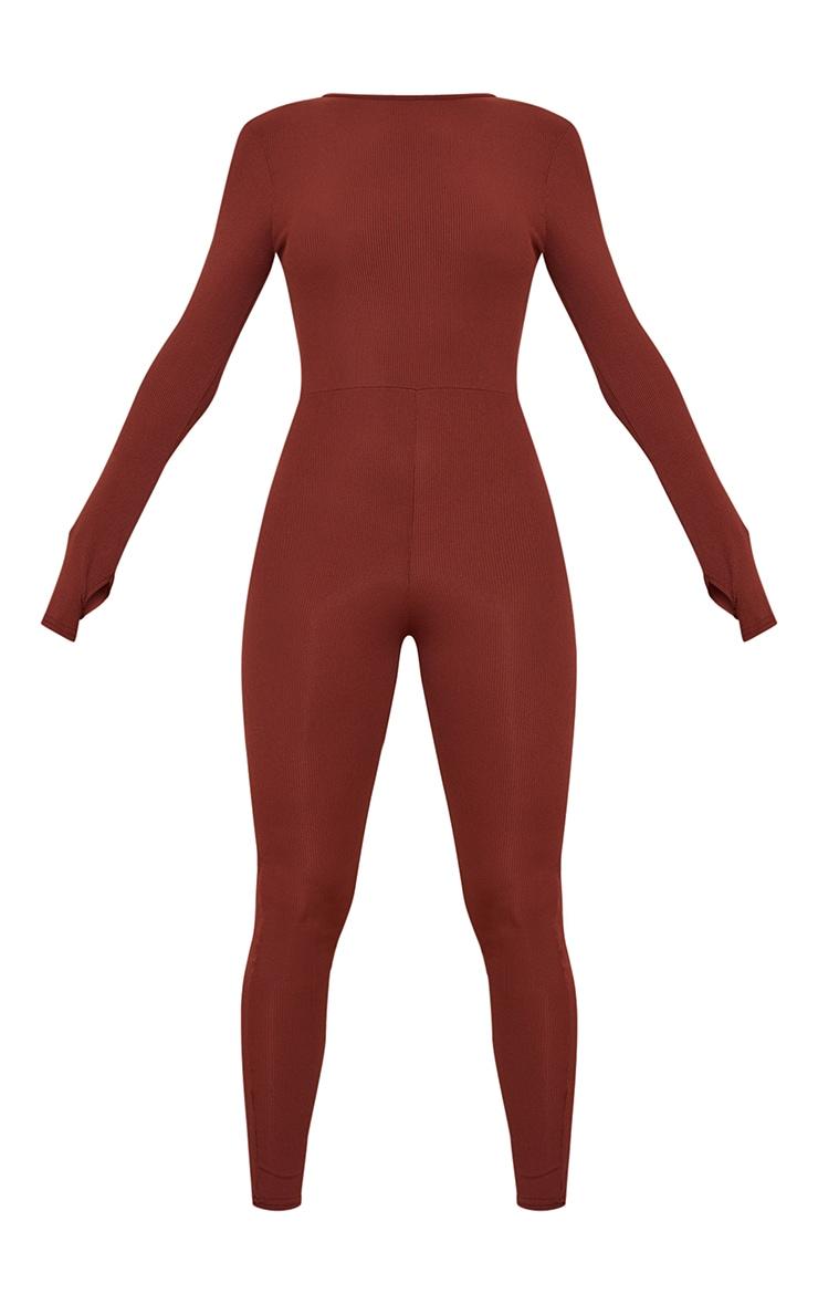 Chocolate Rib Long Sleeve Thumb Hole Jumpsuit 5