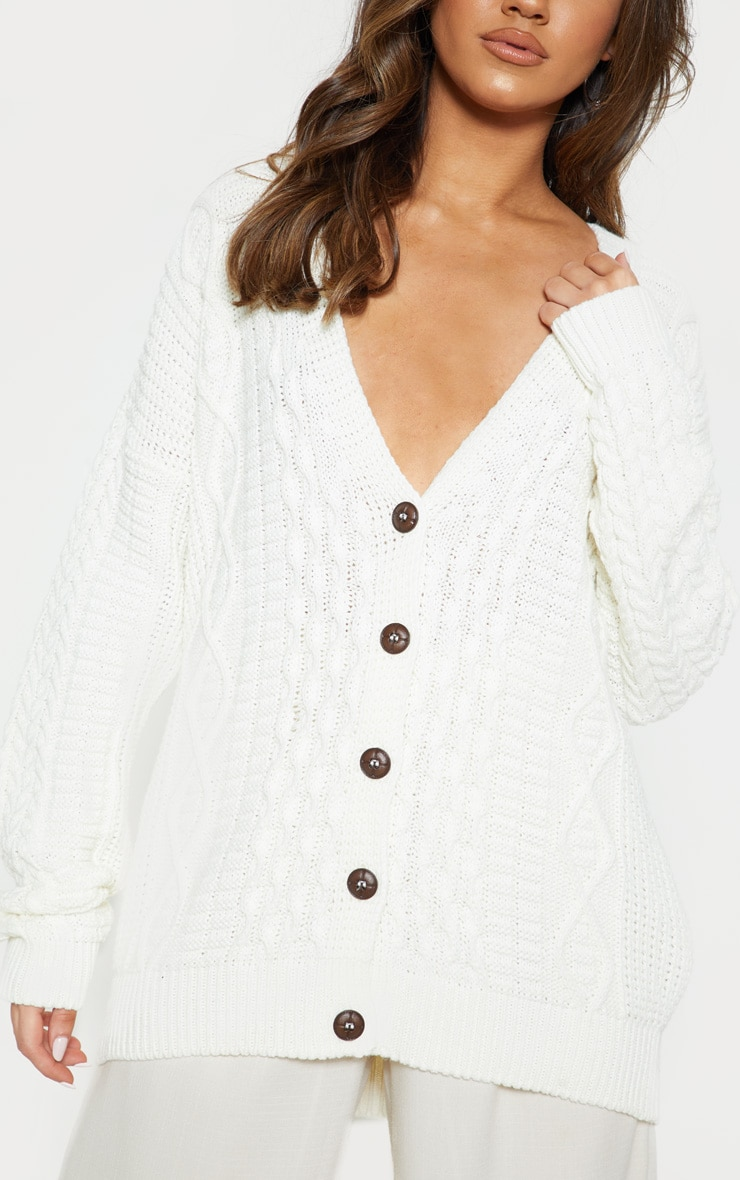 Cream Oversized Cable Knit Cardigan 5