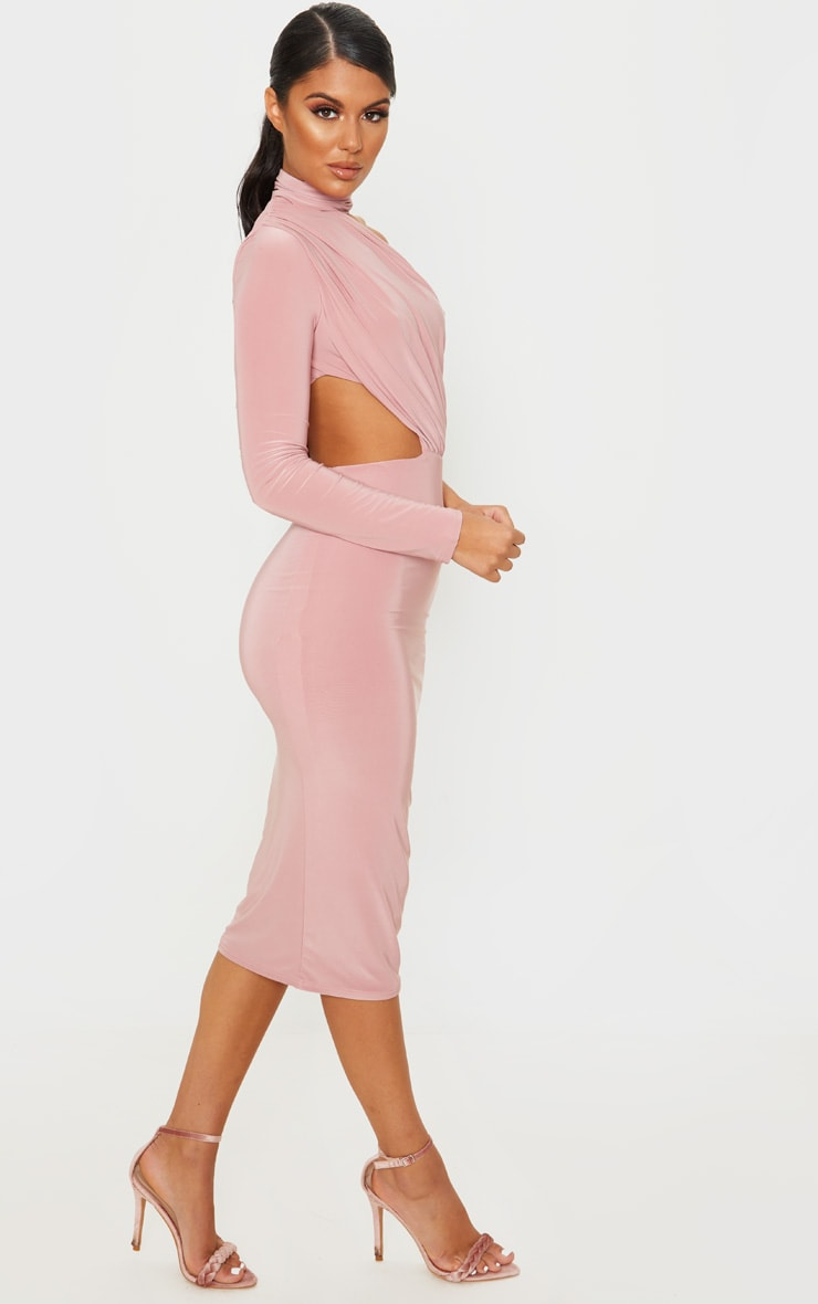 Baby Pink Ruched One Shoulder Midi Dress 4