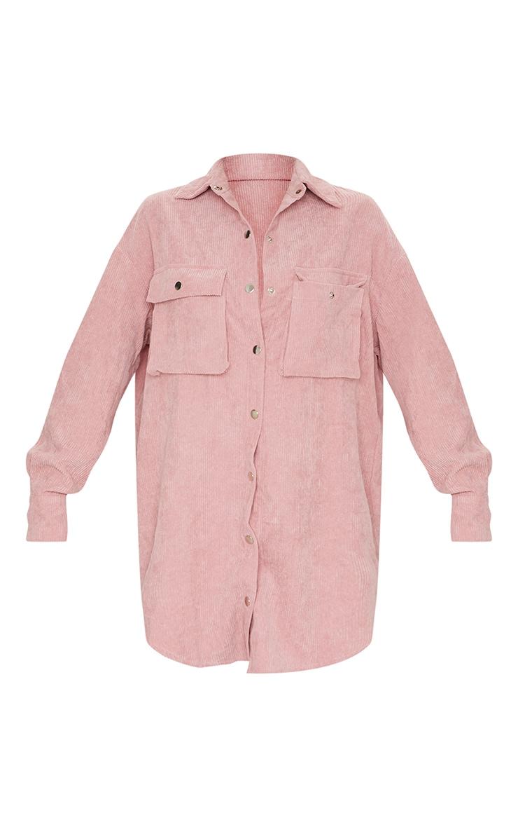 Blush Cord Pocket Detail Shirt Dress 5