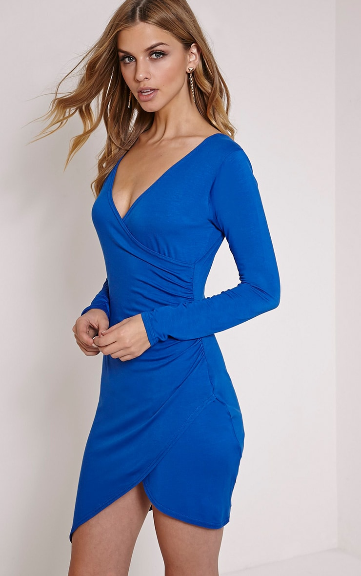 Kendi Cobalt Wrap Mini Dress 4