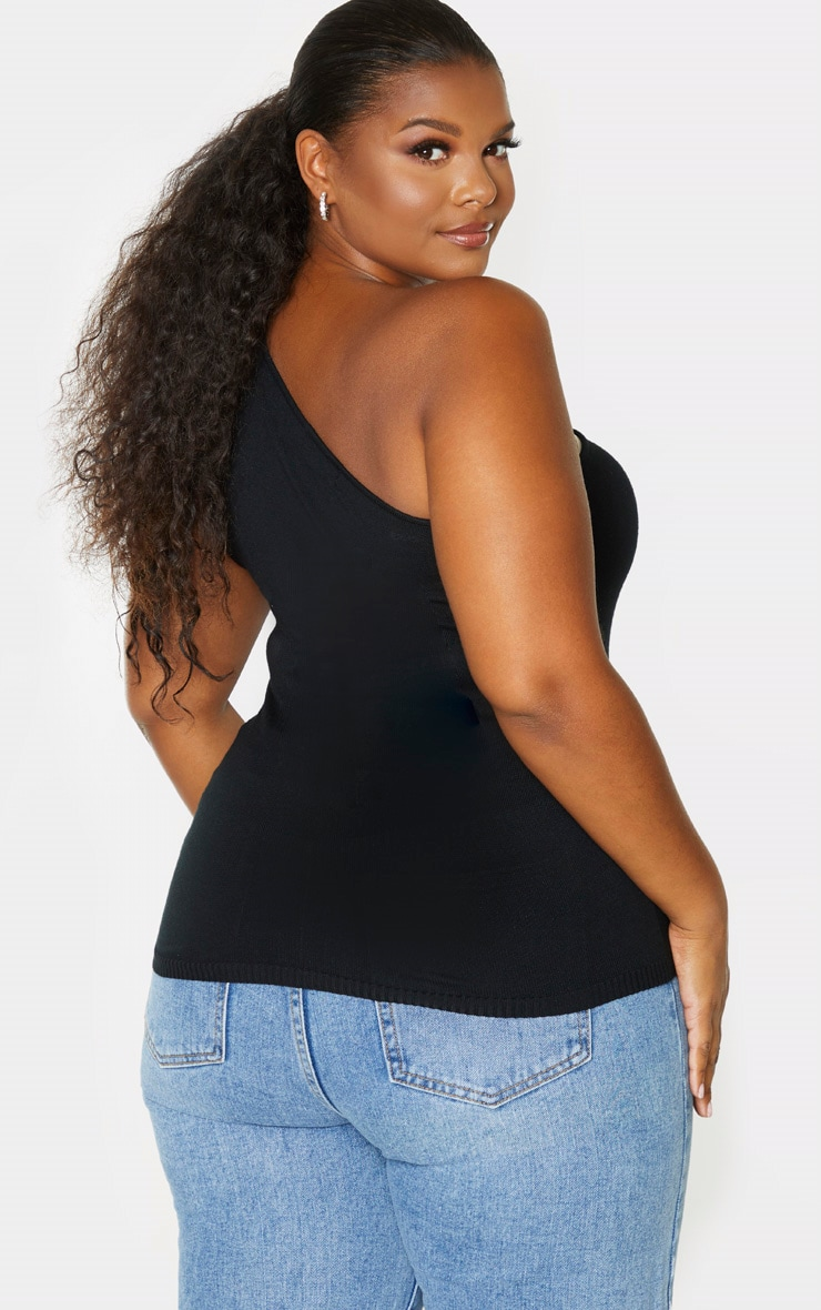 Plus Black Knitted One Shoulder Top 2
