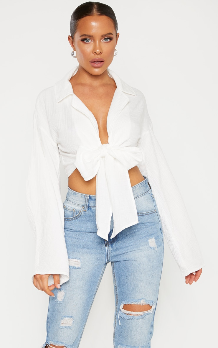 White Textured Oversized Tie Front Shirt 1