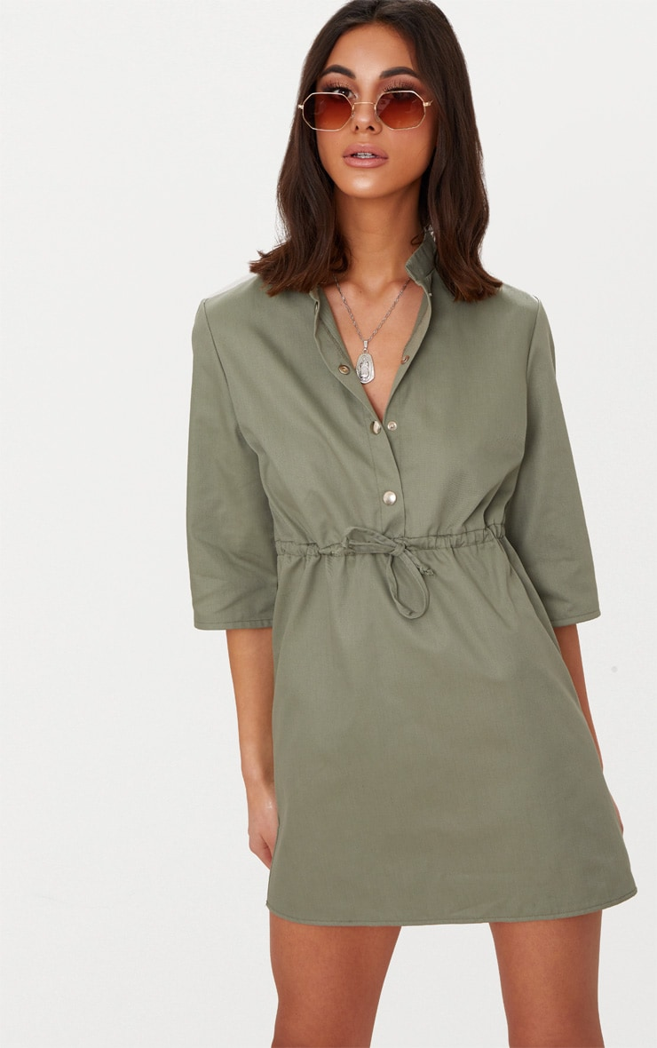 Khaki Utility Shirt Dress  1