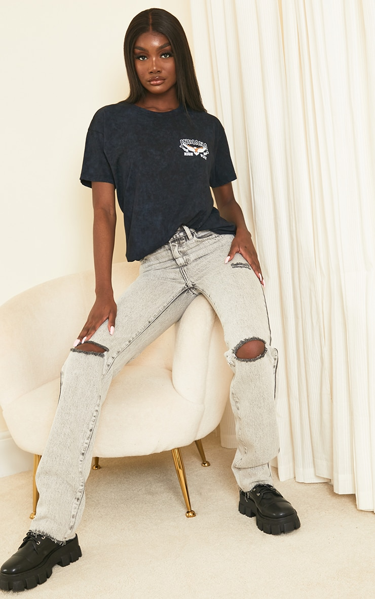 PRETTYLITTLETHING Tall Grey Acid Wash Distressed Long Leg Straight Jeans 1