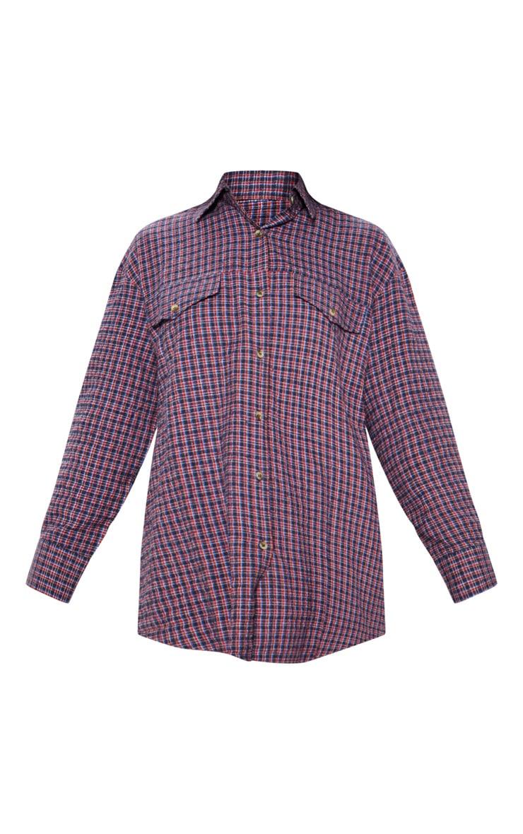Chemise oversize style dad à carreaux rouges 3