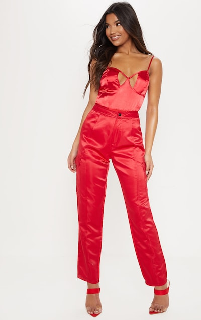 Red Satin Cut Out Bodysuit f68ec8e2a