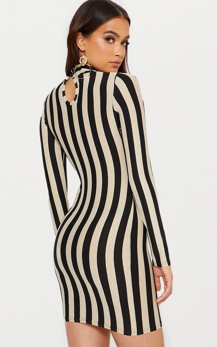 Gold High Neck Glitter Striped Bodycon Dress 2