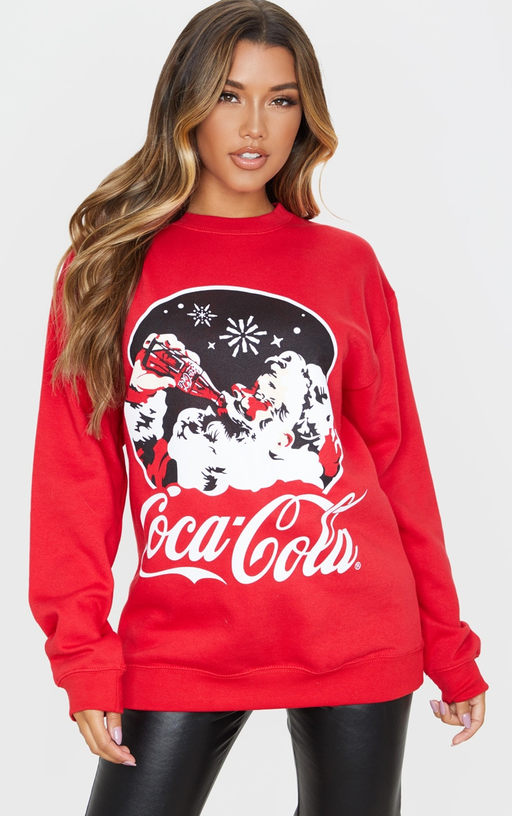 Red Coca Cola Christmas Printed Sweater 1
