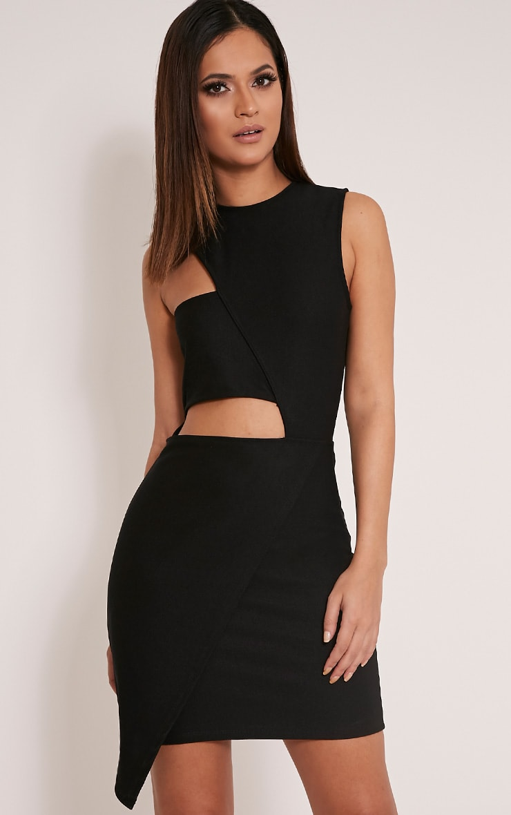 Tamra Black Cut Out Wrap Bodycon Dress 1