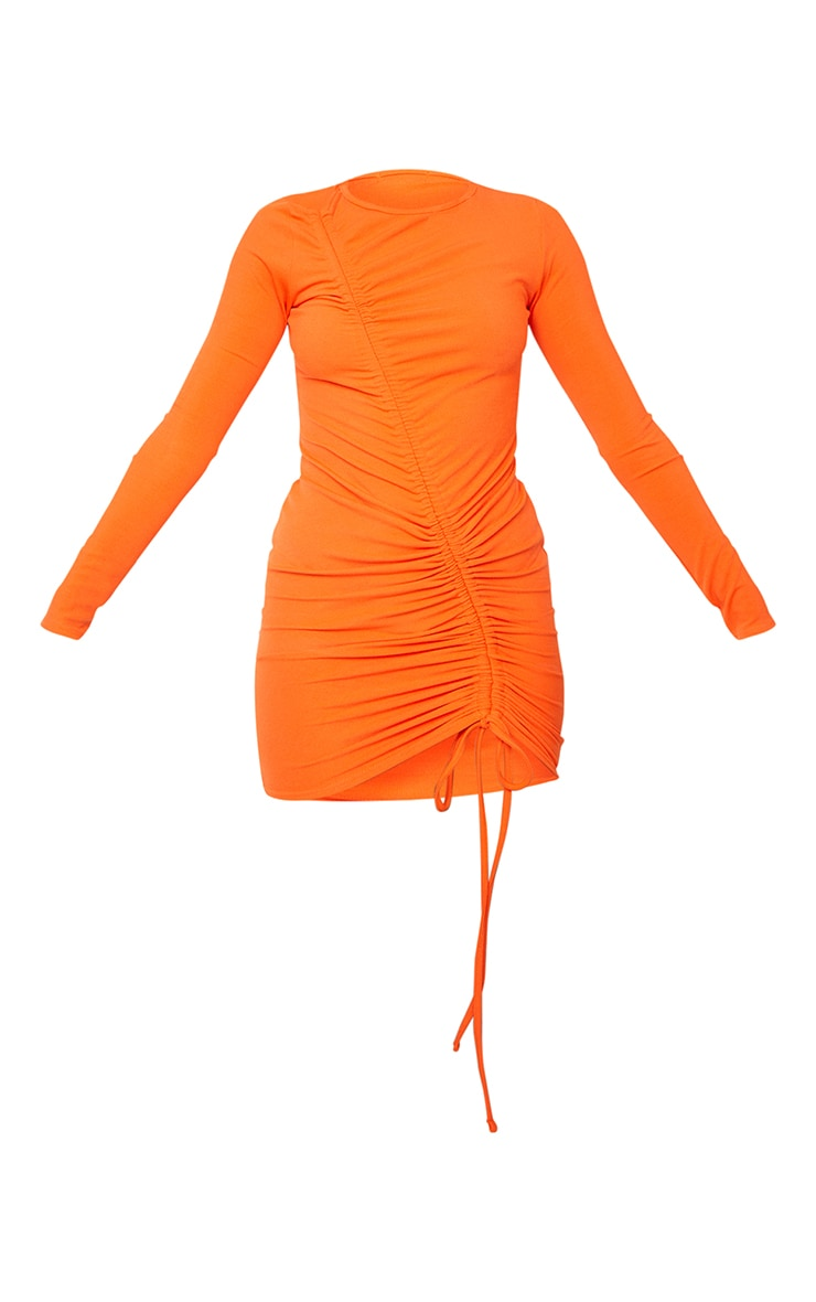 Orange Ribbed Long Sleeve Asymmetic Ruched Bodycon Dress 5