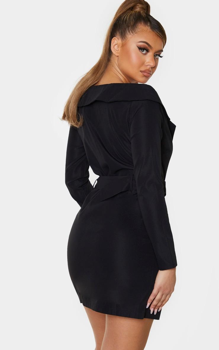 Black Bardot Tortoise Button Belted Blazer Dress 2