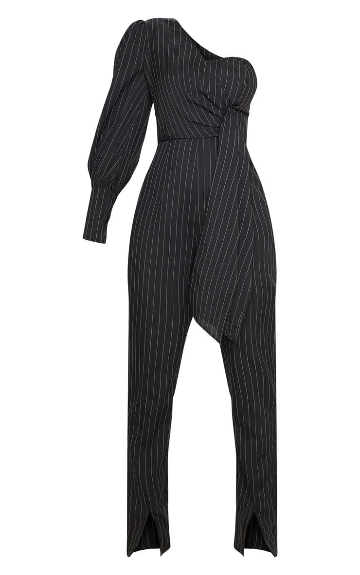 Black Pinstripe One Sleeve Tie Detail Jumpsuit 3
