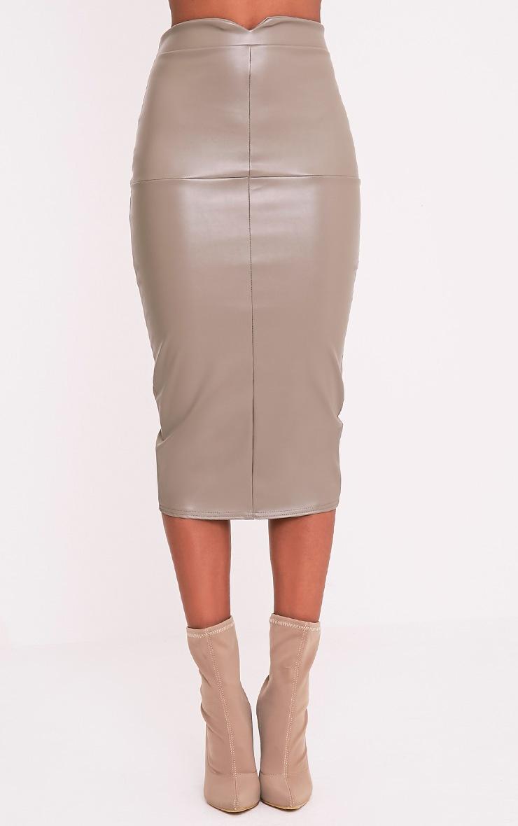 Eva Taupe Faux Leather Panel Midi Skirt 2
